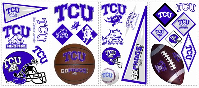 TCU Texas Christian Kids Removable Wall Graphics Stickers