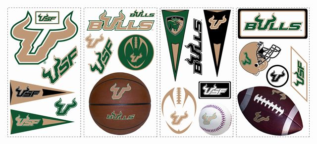 South Florida USF Bulls Kids Removable Wall Graphics Stickers