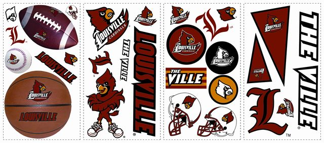 Louisville Cardinals Kids Removable Wall Graphics Stickers