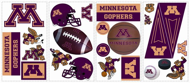 Minnesota Golden Gophers Kids Removable Wall Graphics Stickers