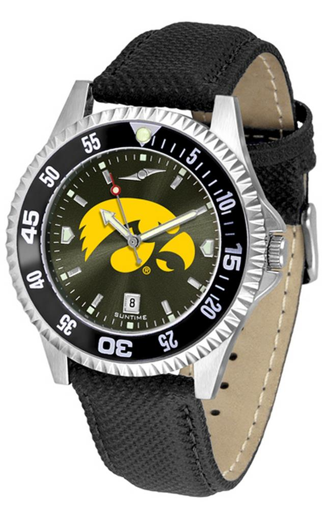 University of Iowa Hawkeyes Men's Leather Wristwatch