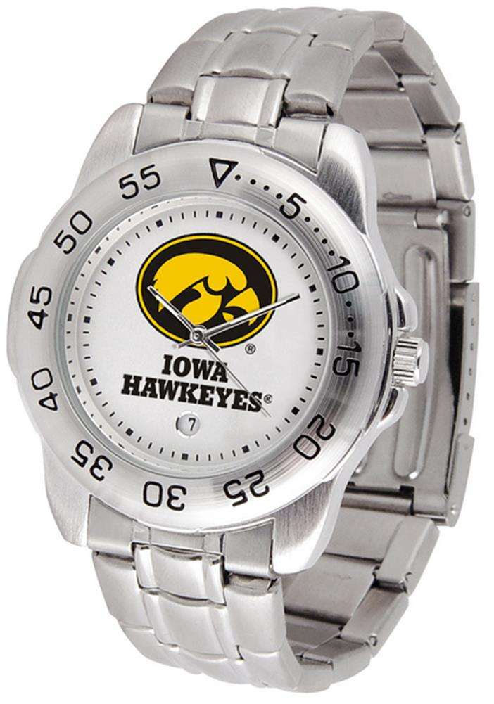 University of Iowa Hawkeyes Men's Stainless Steel Logo Watch
