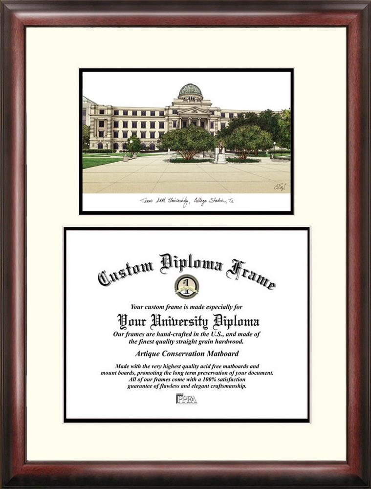 University of North Texas Mahogany Diploma Frame & Lithograph