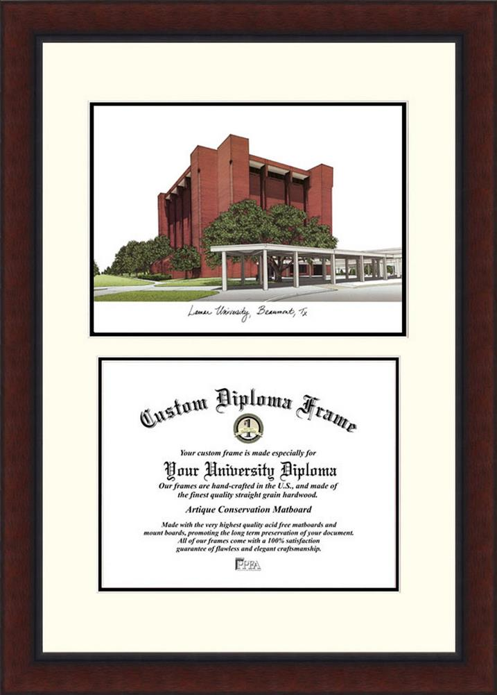 Lamar University Diploma Frame Lithograph Legacy Series