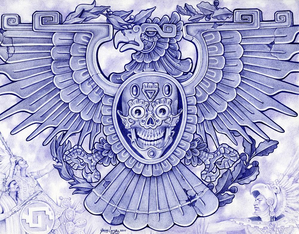 Chicano art drawings car interior design for Aztec mural tattoos