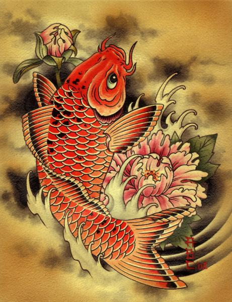 Carp by aaron cox koi orange fish tattoo canvas giclee art for Koi fish art print