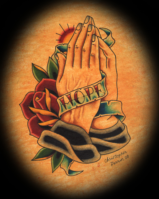 hope banner tattoo praying hands art christopher perrin. Black Bedroom Furniture Sets. Home Design Ideas