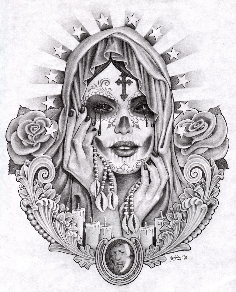 Santa Muerta By Mouse Lopez Cross Rosary Pen Drawing