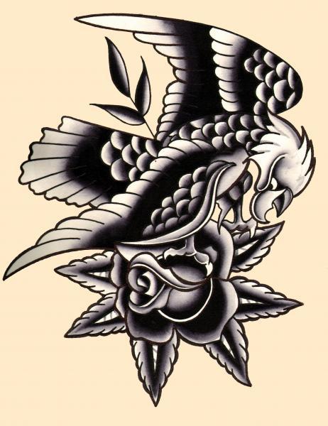 Traditional eagle by mr skully rose tattoo art print ebay for Black eagle tattoo shop