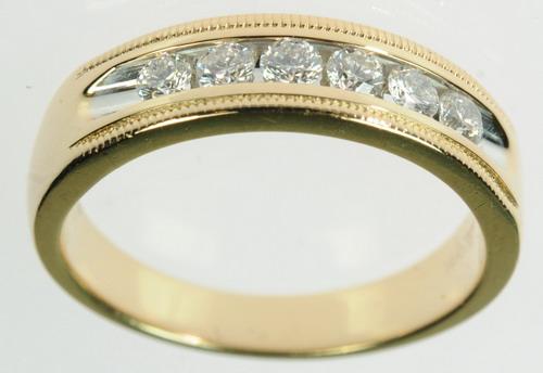 MENS 14K YELLOW GOLD DIAMOND WEDDING ESTATE RING 172137