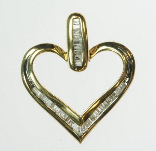 SOLID YELLOW GOLD DIAMOND HEART BAGUETTE PENDANT ESTATE J184135