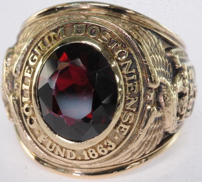 Vintage 1952 Boston College Collegium Bostiniense Ruby Class Estate Ring
