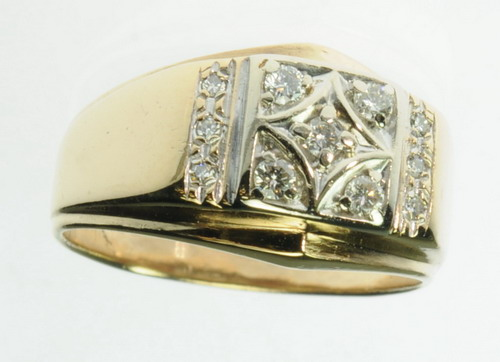 SOLID YELLOW GOLD DIAMOND WEDDING MANS BAND ESTATE RING J209040