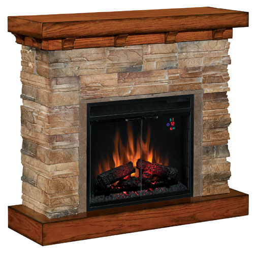 Classic Flame Mantle Flagstone Stone Oak Electric