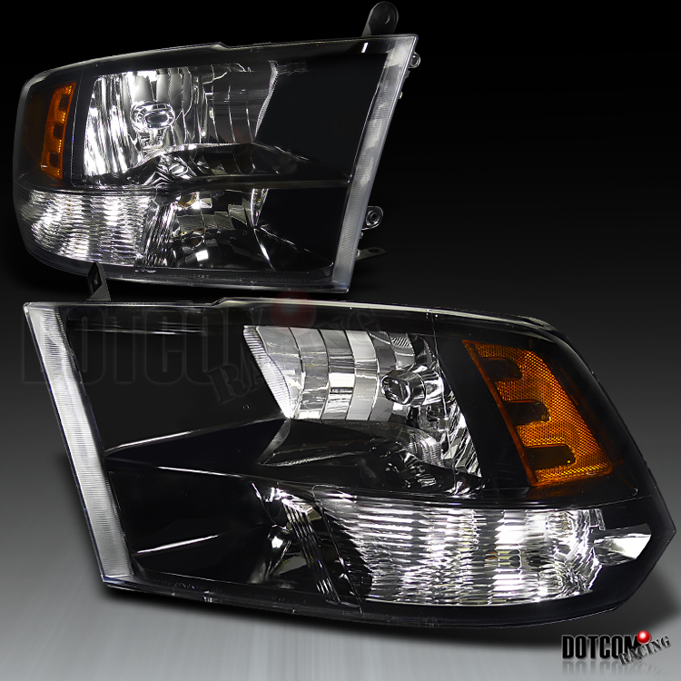 09 11 dodge ram 1500 2500 3500 black headlights lamps ebay. Black Bedroom Furniture Sets. Home Design Ideas