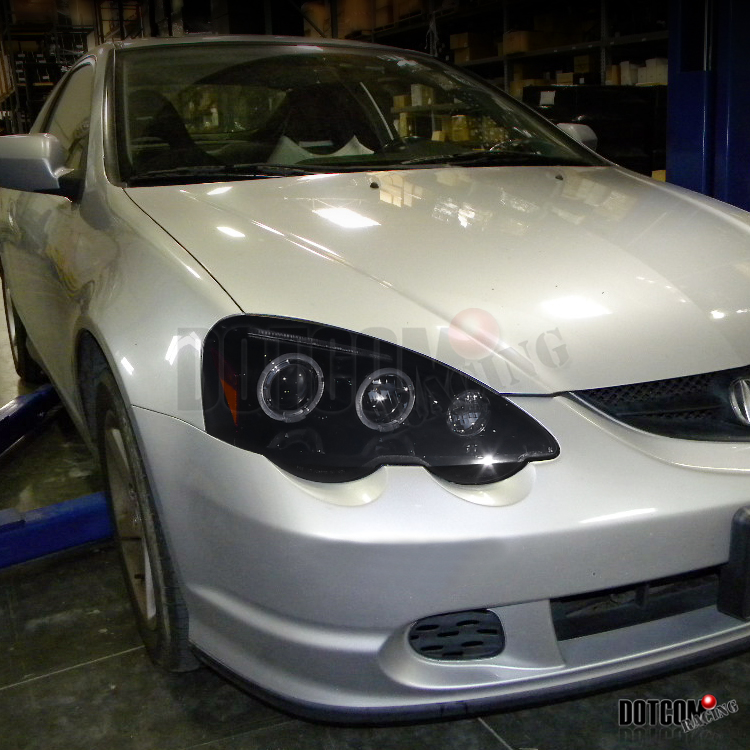 Glossy Black 2002 2004 Acura Rsx Halo Projector Headlights