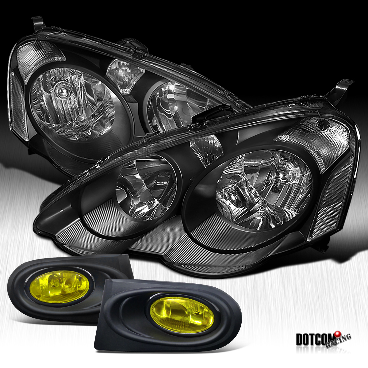 02 04 acura rsx dc5 head lights black bumper fog lamps yellow ebay. Black Bedroom Furniture Sets. Home Design Ideas
