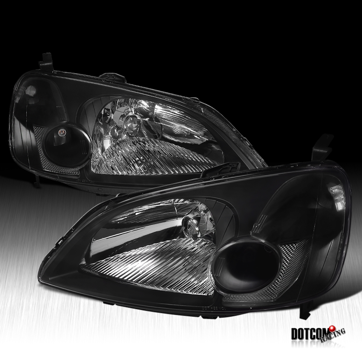 01 02 03 honda civic lx ex headlights lamp jdm black ebay. Black Bedroom Furniture Sets. Home Design Ideas
