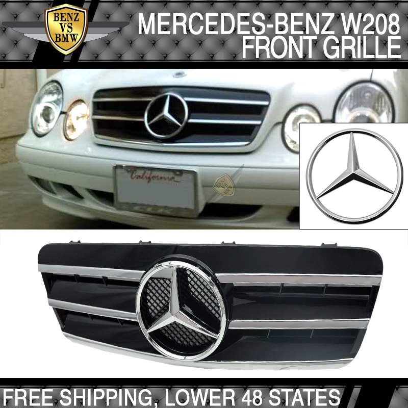 98 02 benz w208 clk class cl style front grill black abs for Mercedes benz front emblem