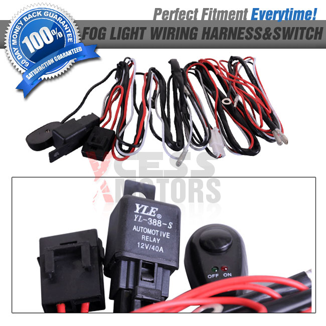 fit universal fog lights wiring harness kit fog lamps switch on