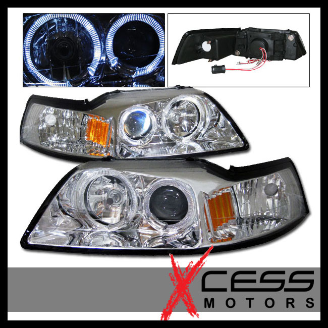 99 04 Ford Mustang Chrome 2 Halo Projector Headlights