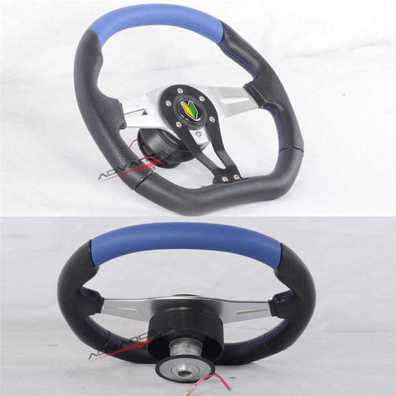 350mm Steering Wheel Hub Adapter Black Blue Pvc Leather
