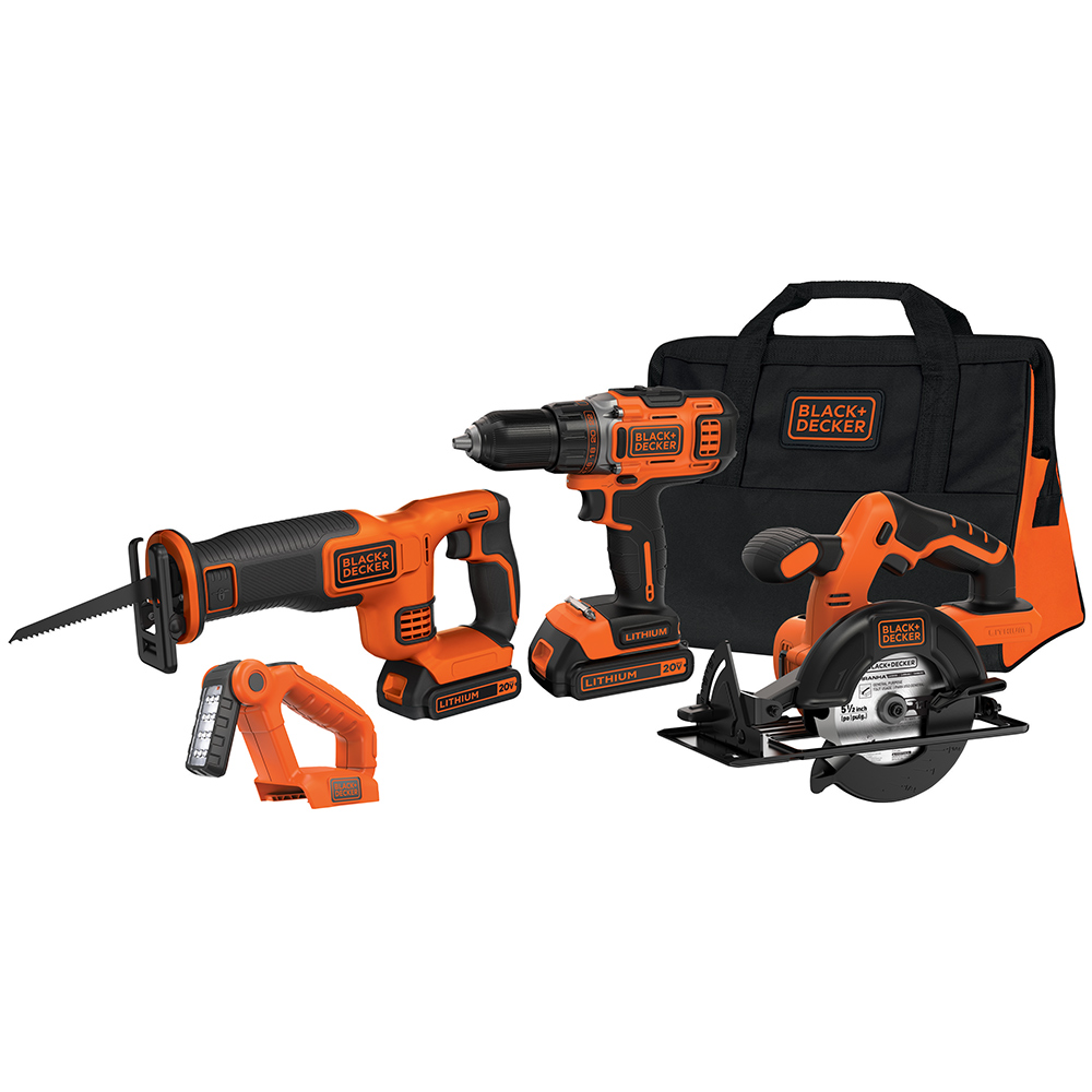 black and decker bdcdhp2204kt 20 volt 4 tool lithium ion cordless combo kit ebay. Black Bedroom Furniture Sets. Home Design Ideas