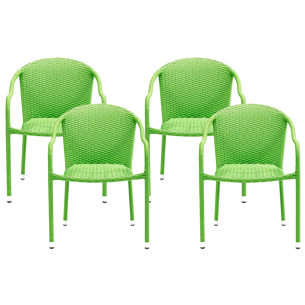 Crosley CO7109 GR Palm Harbor Outdoor Wicker Stackable Chairs Green 4pc