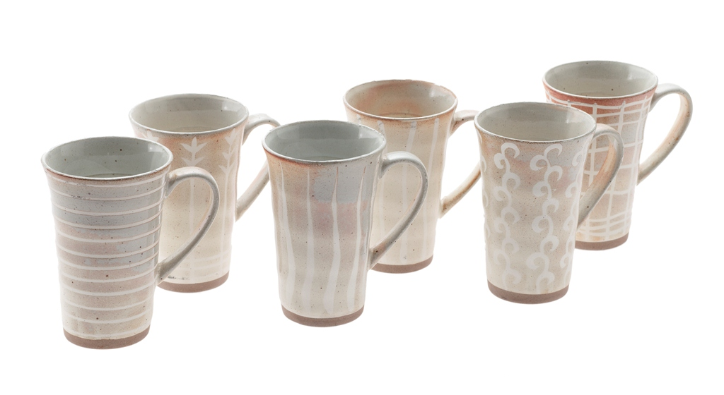 casa uno set of 6 moon glow glazed ceramic mugs in gift