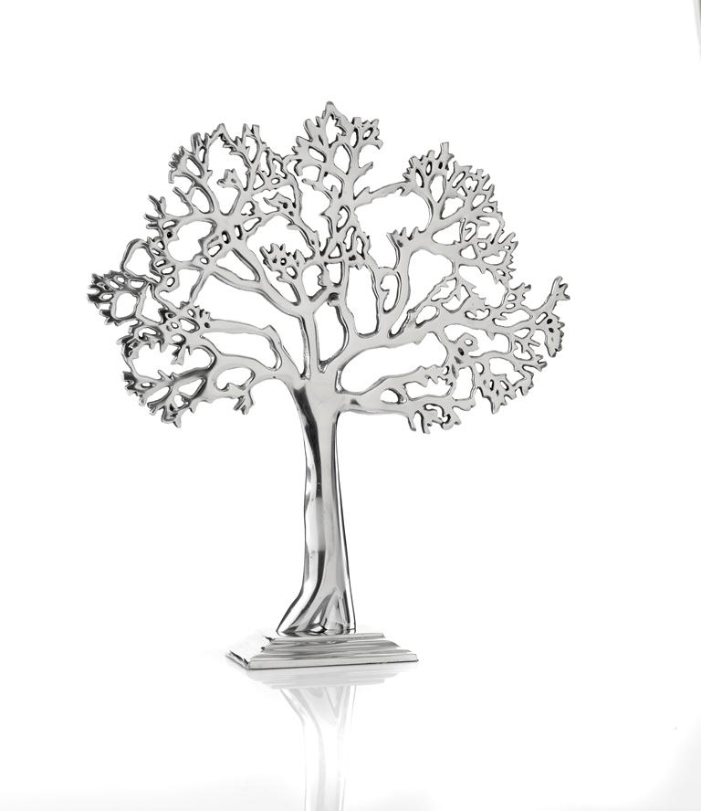 casa uno aluminium tree of life silver ornament figure sculpture decor new
