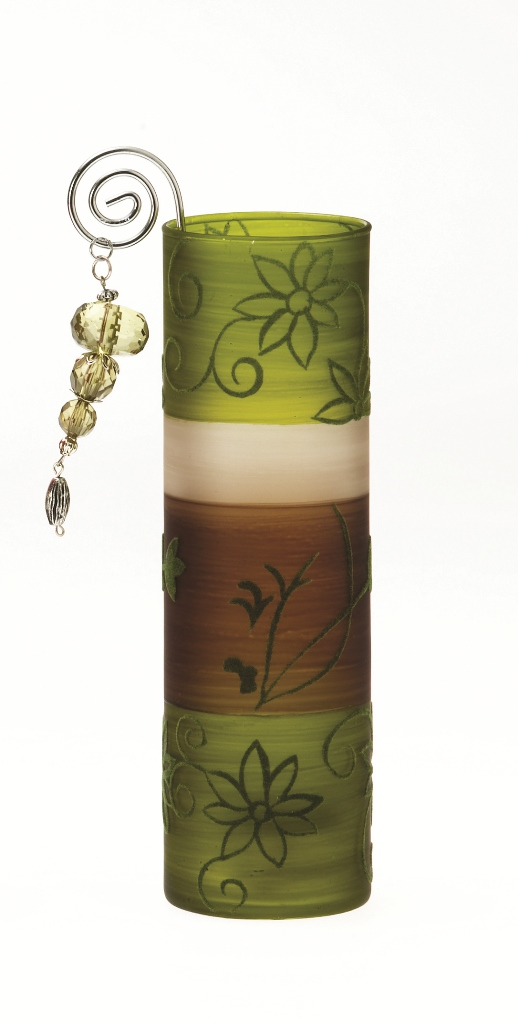 Casa-Uno-Tea-light-HolDer-Green-Brown-Glass-Wire-Beads-Candle-Light-Retro-NEW