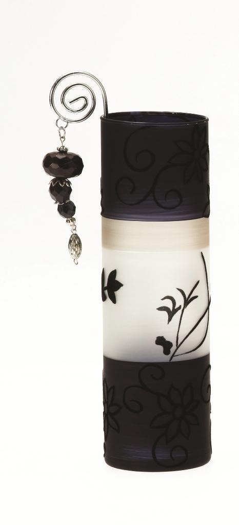 Casa-Uno-Tea-light-HolDer-Black-Frost-Glass-Wire-Beads-Candle-Light-Retro-NEW