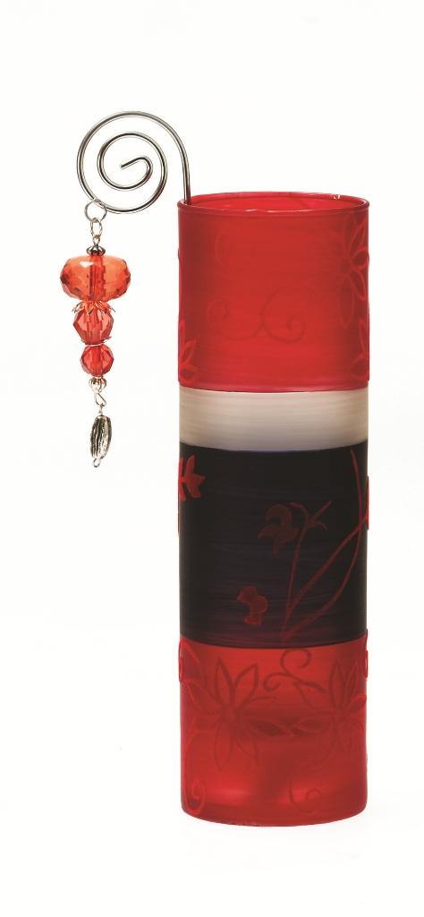 Casa-Uno-Tea-light-HolDer-Red-Black-Glass-Wire-Beads-Candle-Light-Retro-NEW