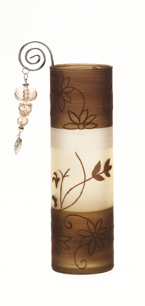 Casa-Uno-Tea-light-HolDer-Brown-Frost-Glass-Wire-Beads-Candle-Light-Retro-NEW