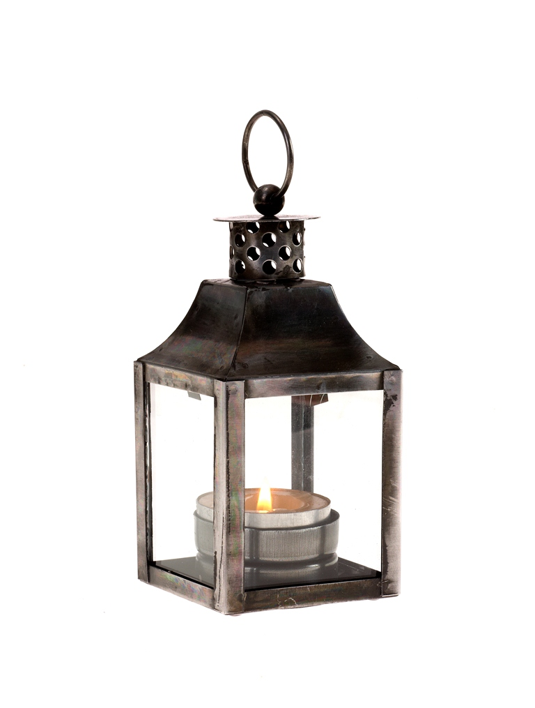 Casa uno metal and glass lantern square silver outdoor for Wire candle lantern