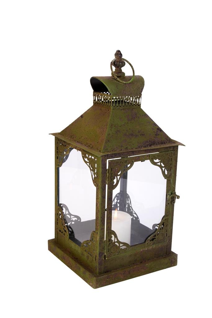 Casa-Uno-Antique-Green-Metal-Lantern-Glass-Candle-HolDer-Outdoor-Tea-light-NEW