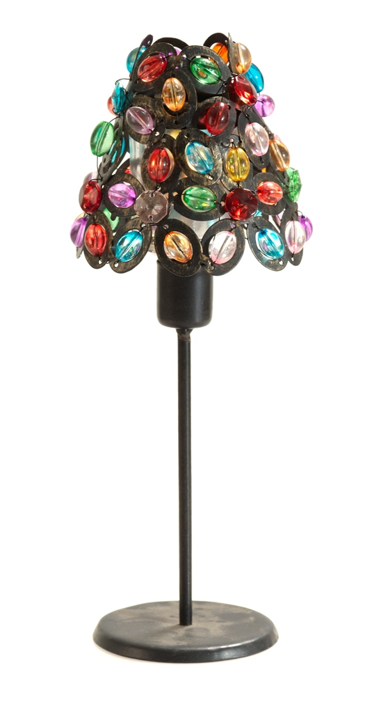 Casa-Uno-BeaDed-Candle-HolDer-Bronze-Multicolour-Beads-Metal-Retro-Decor-NEW