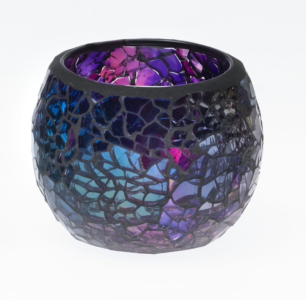 Casa-Uno-Mosaic-Glass-Candle-HolDer-Small-Purple-Tea-light-Vintage-Antique-NEW