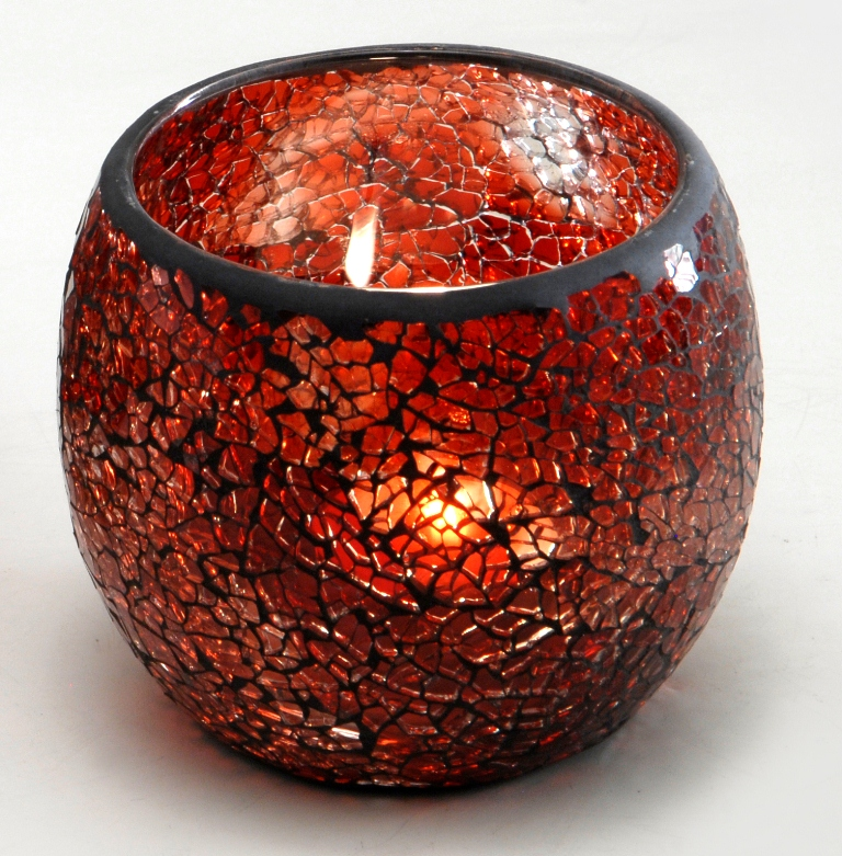 Casa-Uno-Red-Mosaic-Glass-Tea-light-Candle-Holder-Small-Shiraz-Home-Decor-NEW