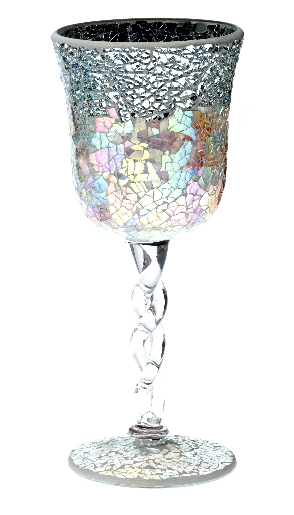 Casa-Uno-Mosaic-Glass-Goblet-Candle-HolDer-Silver-Tea-light-Vintage-Antique-NEW