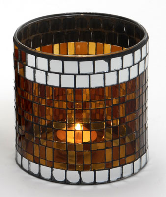 Casa-Uno-Mosaic-Glass-Candle-HolDer-Short-Brown-Tea-light-Vintage-Antique-NEW