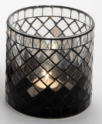 Casa-Uno-Mosaic-Glass-Candle-HolDer-Short-Black-Tea-light-Vintage-Antique-NEW