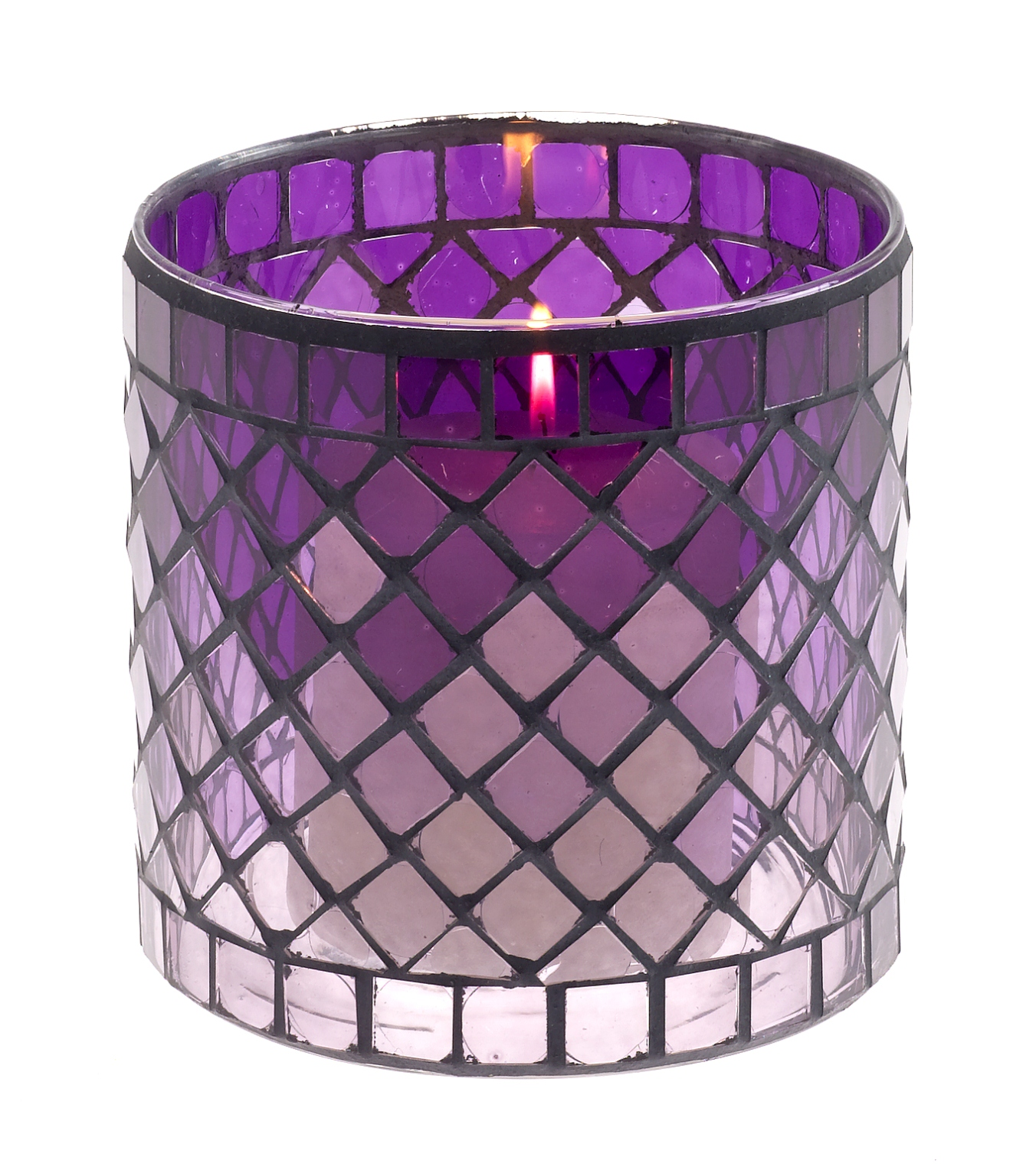 Casa-Uno-Mosaic-Glass-Candle-HolDer-Short-Purple-Tea-light-Vintage-Antique-NEW