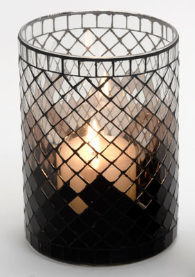 Casa-Uno-Mosaic-Glass-Candle-HolDer-Tall-Black-Tea-light-Vintage-Antique-NEW
