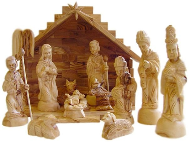 Wooden Hand Carved Nativity Sets ~ Hand carved olive wood christmas nativity set with stable