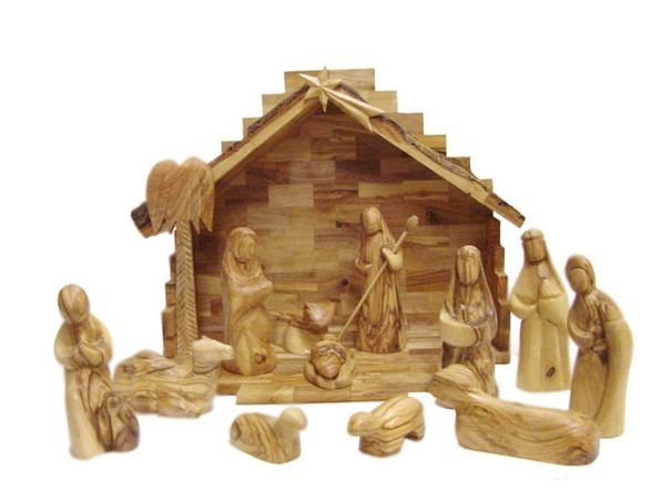 Wooden Hand Carved Nativity Sets ~ Hand carved olive wood modern christmas nativity set from
