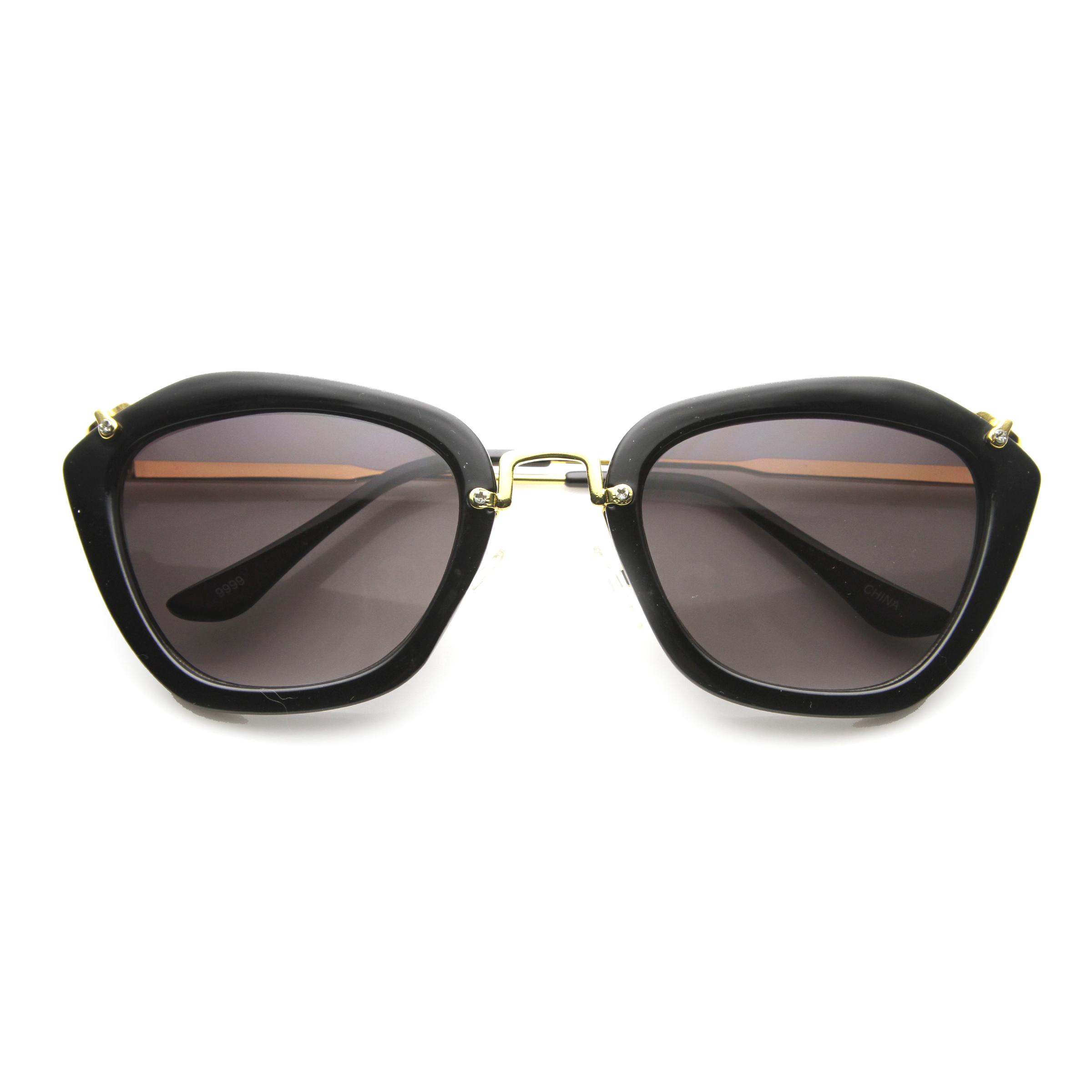 High Fashion Rounded Hexagonal Frame Metal Arm Sunglasses