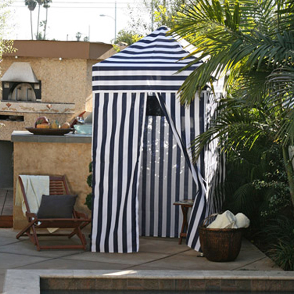 Portable cabana stripe changing room privacy tent pool for Portable garden room