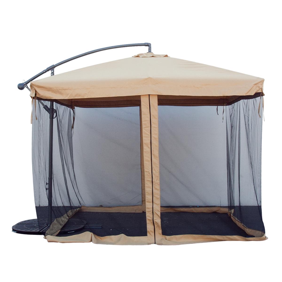 Patio Umbrella Netting: 9FT Offset Tan W/ Mesh Patio Umbrella Tilt Post Deck