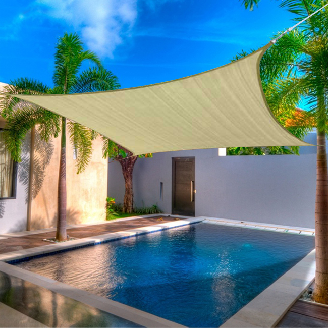 18 x 18u0027 ft feet square uv heavy duty sun shade sail patio cover new sand canopy